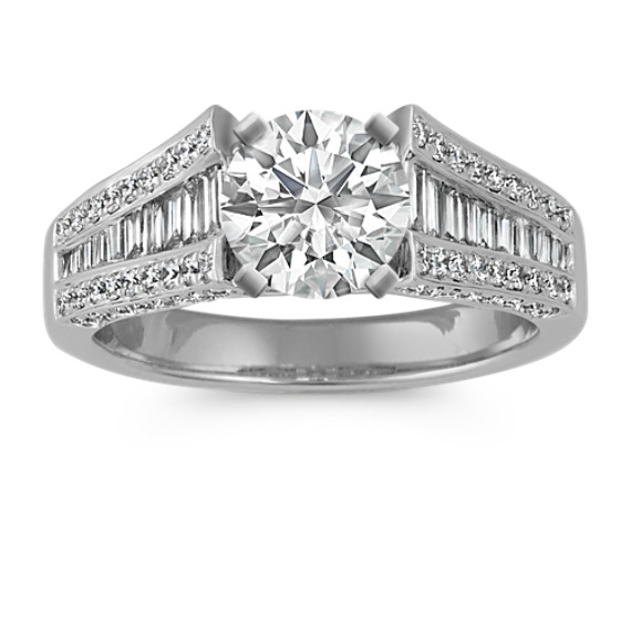 Baguette and Round Diamond Engagement Ring