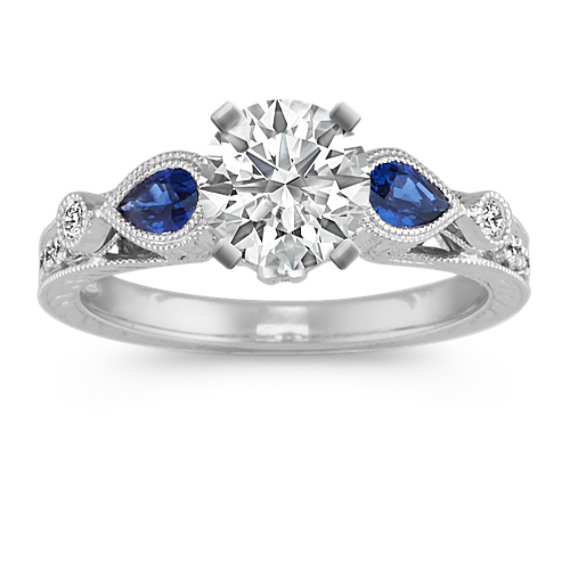 Vintage Pear-Shaped Sapphire and Diamond Engagement Ring