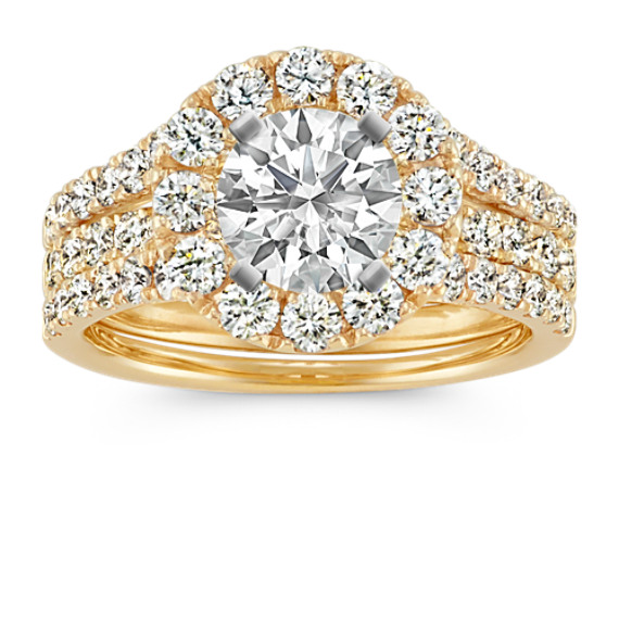 Halo Diamond Wedding Set in 14k Yellow Gold
