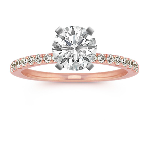 Round Diamond Engagement Ring with Pavé Setting in 14k Rose Gold