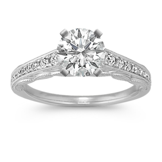 Vintage Cathedral Diamond Engagement Ring with Pavé Setting