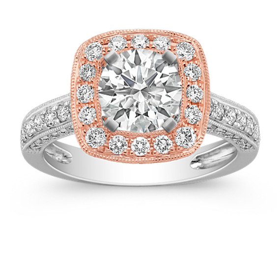 14k Rose Gold Halo and 14k White Gold Diamond Engagement Ring
