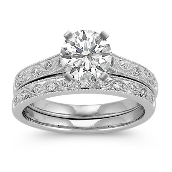 Vintage Cathedral Round Diamond Wedding Set