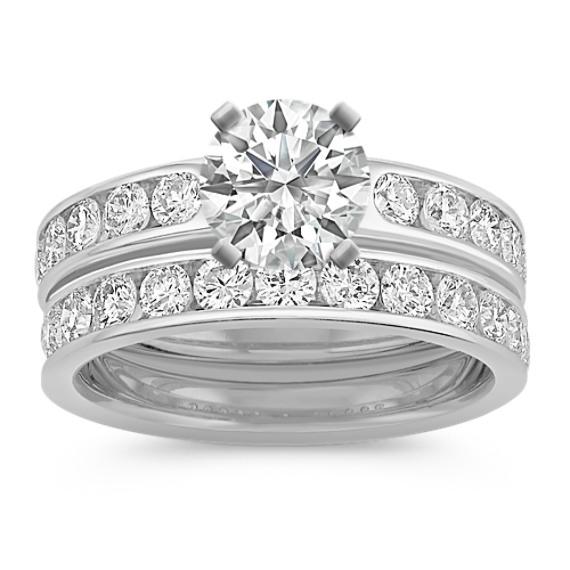 Diamond Platinum Wedding Set with Channel-Setting