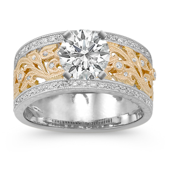 Vintage Diamond Two-Tone Engagement Ring with Pavé Setting