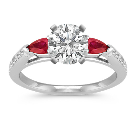 Pear-Shaped Ruby and Round Diamond Engagement Ring with Pavé-Setting
