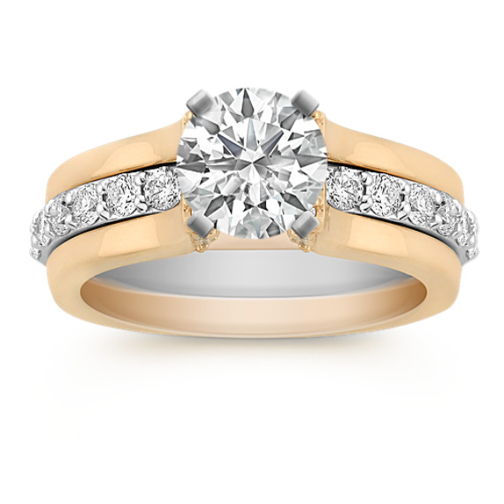 Round Diamond Two-Tone Gold Wedding Set with Pavé Setting