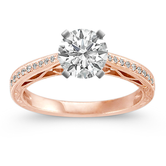 Vintage Cathedral Diamond Engagement Ring in 14k Rose Gold
