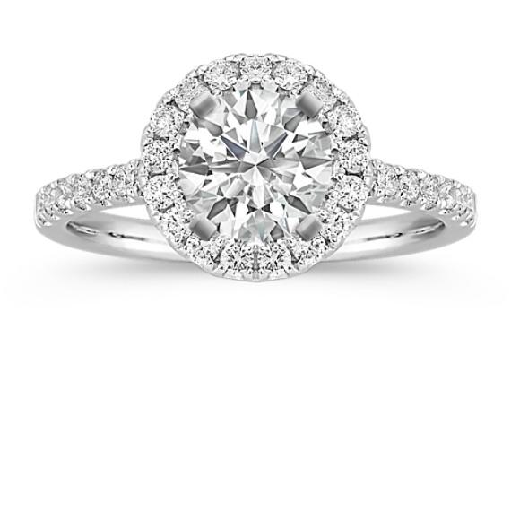 Round Diamond Halo Engagement Ring in 14k White Gold