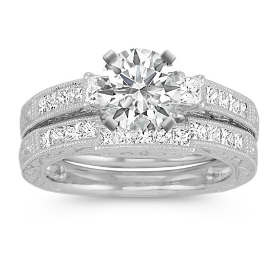 Vintage Princess Cut Diamond Platinum Wedding Set with Channel-Setting