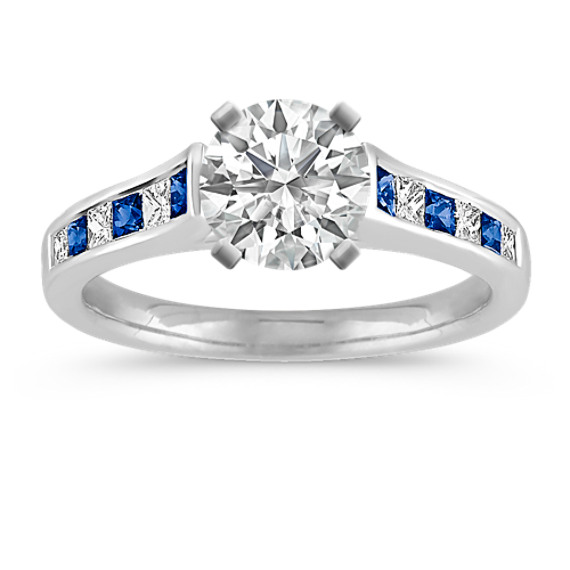 Cathedral Princess Cut Sapphire and Diamond Channel-Set Engagement Ring