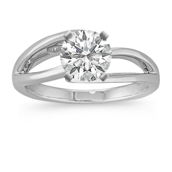 Swirl Solitaire White Gold Engagement Ring