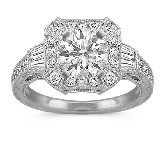 Vintage Halo Baguette and Round Diamond Engagement Ring