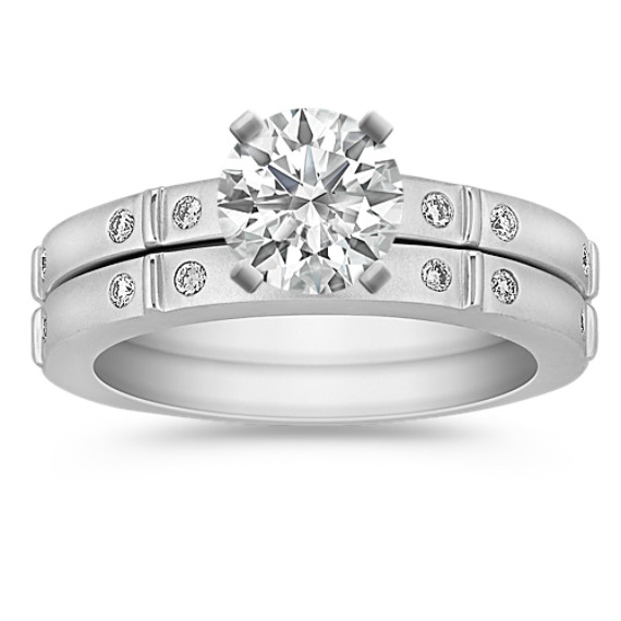 Contemporary Diamond Wedding Set