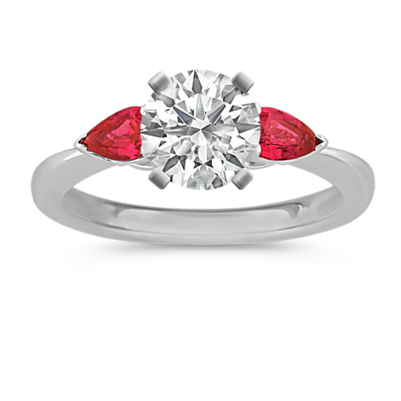 Three-Stone Pear-Shaped Ruby Engagement Ring