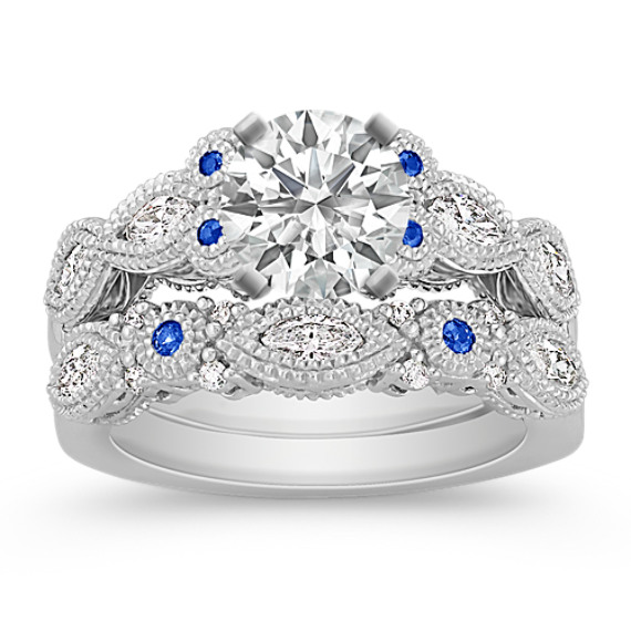 Vintage Marquise Diamond and Round Sapphire Wedding Set