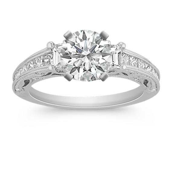 Vintage Baguette, Princess Cut, and Round Diamond Engagement Ring