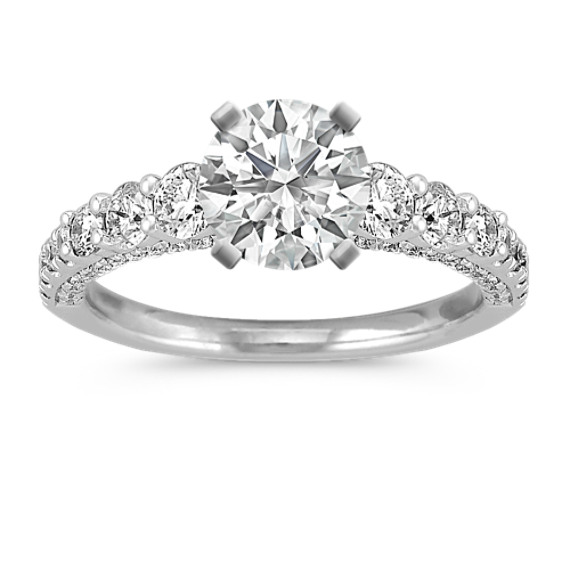 14k White Gold Engagement Ring with Pavé-Setting