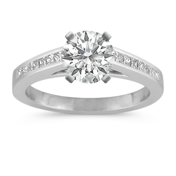 Cathedral Princess Cut Diamond Engagement Ring with Channel-Setting