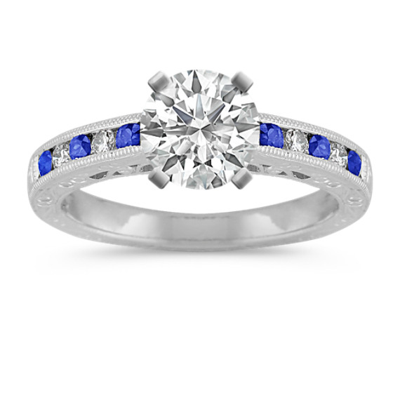 Vintage Round Sapphire and Diamond Platinum Channel-Set Engagement Ring