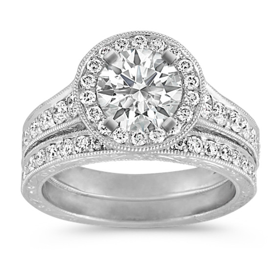 Vintage Platinum Halo Diamond Engagement Ring with Pavé Setting