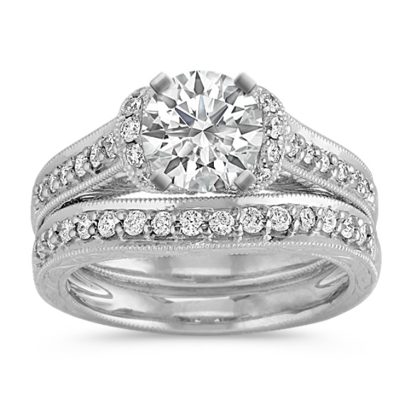 Vintage Diamond Wedding Set in Platinum