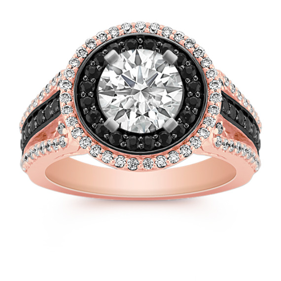 Halo Round Black Sapphire and Diamond Engagement Ring in 14k Rose Gold