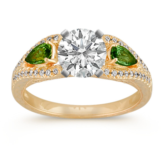 Vintage Pear-Shaped Green Sapphire and Round Diamond Engagement Ring