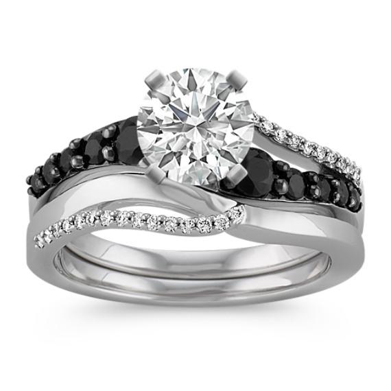 Swirl Round Black Sapphire and Diamond Wedding Set with Black Rhodium