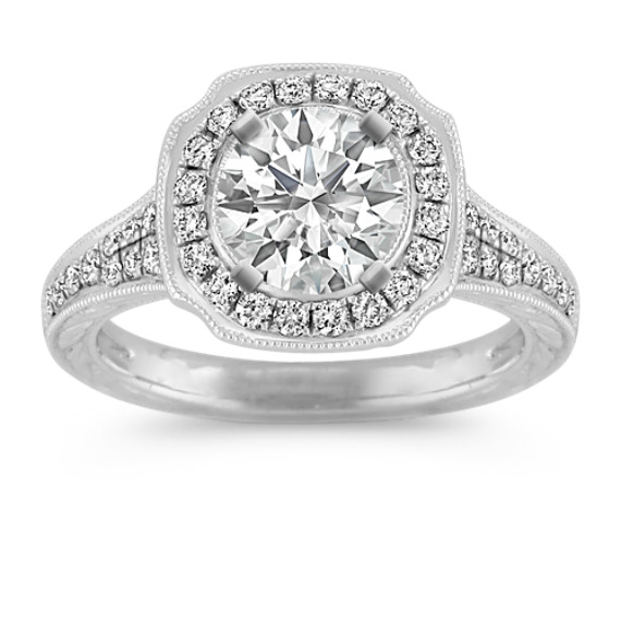 Halo Vintage Diamond Engagement Ring in Platinum with Pavé-Setting