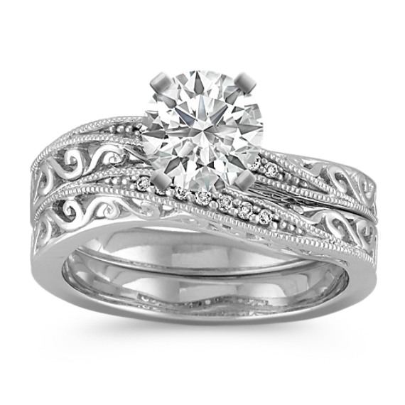 Vintage Diamond Curved Wedding Set with Pavé-Setting