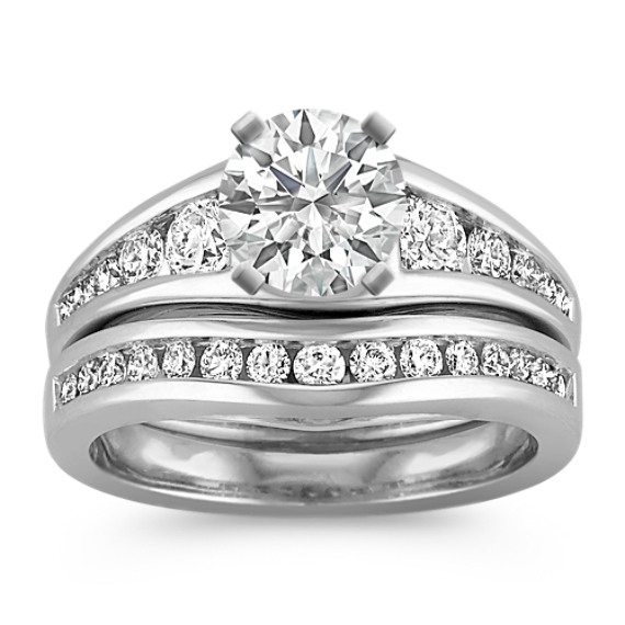 Classic Round Diamond Wedding Set with Channel-Setting