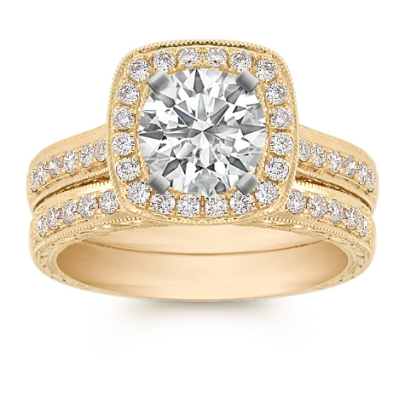 Halo Vintage Pavé Set Diamond Wedding Set in 14k Yellow Gold