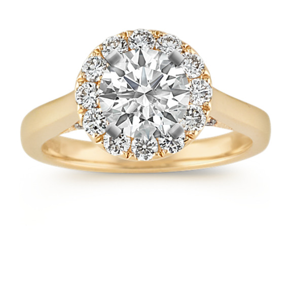 Round Diamond Halo Pavé-Set Engagement Ring in 14k Yellow Gold