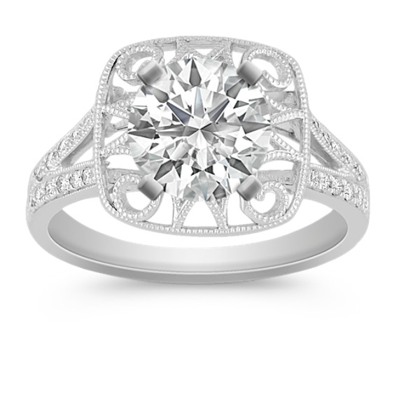 Vintage Round Diamond Engagement Ring with Pavé Setting
