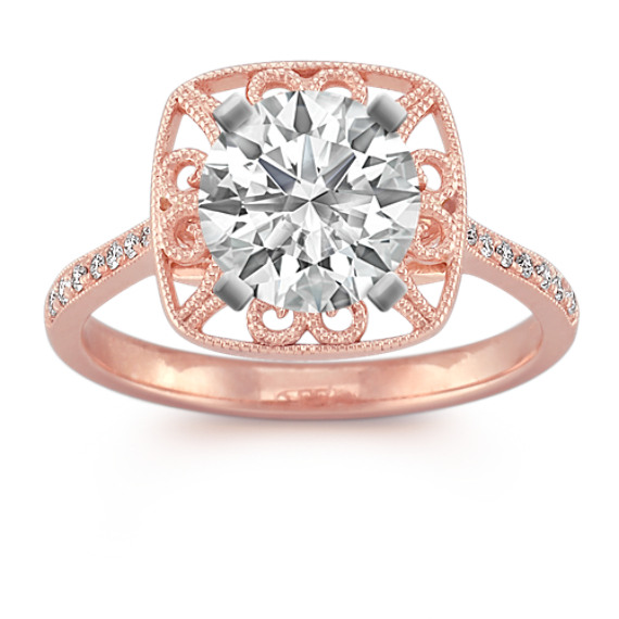 Vintage Halo Diamond Engagement Ring in Rose Gold