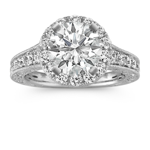 Round Diamond Halo Vintage Engagement Ring in 14k White Gold