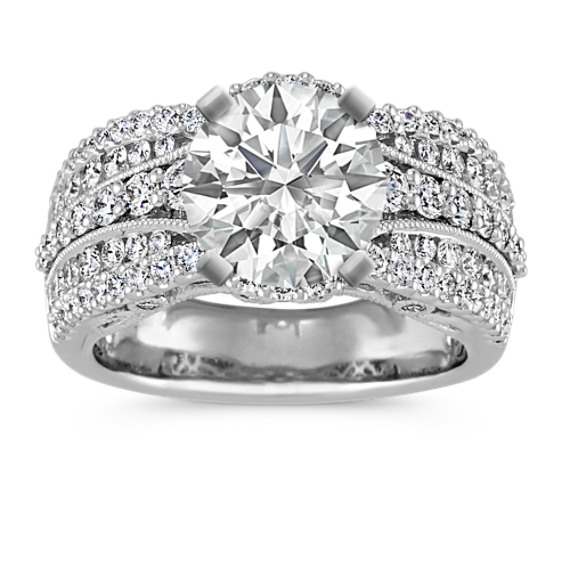 Round Diamond Vintage Engagement Ring in 14k White Gold