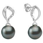 10mm Cultured Tahitian Pearl and Round Diamond Earrings