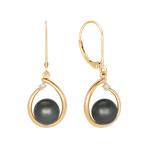 9mm Cultured Tahitian Pearl and Diamond Earrings