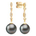 9mm Cultured Tahitian Pearl and Round Diamond Earrings