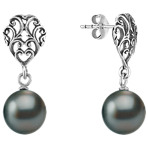 9mm Cultured Tahitian Pearl and Sterling Silver Earrings