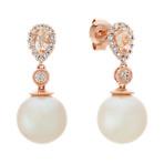 9mm Pearl, Pink Morganite and Diamond Earrings