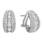Baguette and Round Diamond Earrings with Pavé and Channel-Setting