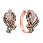 Brilliant Round and Brown Diamond Knot Earrings in 14k Rose Gold