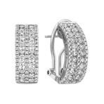 Curved Fashion Earrings with Round Diamonds in 14k White Gold