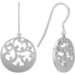 Diamond and Sterling Silver Circle Earrings