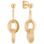 Double Link Dangle 14k Yellow Gold Earrings