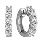 Five-Stone Round Diamond Hoop Earrings