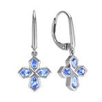 Kite Shaped Ice Blue Sapphire Cross Earrings